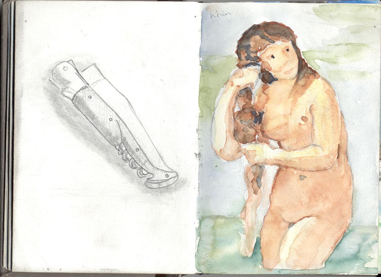 double page de mon vieux petit carnet � dessin. A gauche le couteau, � droite la Venus (je pr�cise, vu la maladresse du dessin, on pourait confondre)