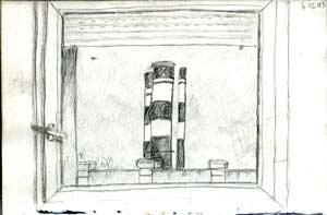 vue de la fen�tre du psychiatre de Garde � l'h�pital d'Evry, extrait du petit carnet � dessins
